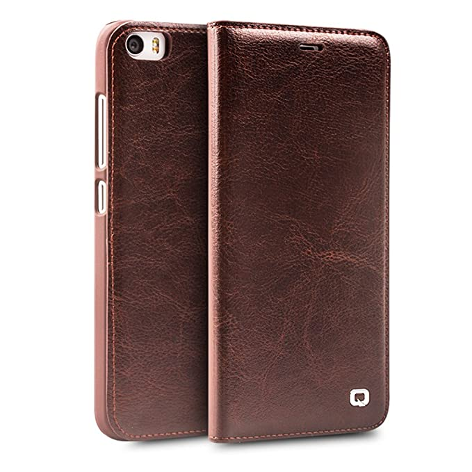 sale retailer 11f63 5006b Xiaomi Mi5 Case with Card Holder, QIALINO Stylish Genuine Leather Cover Mi  5 Wallet Phone Case, Brown