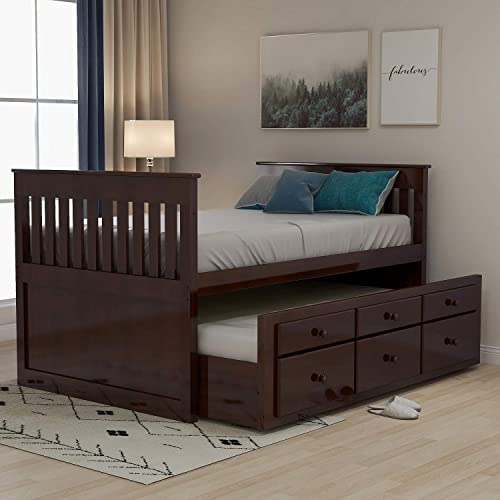 Rhomtree Storage Twin Daybed with Trundle and 3 Storage Drawers Wood Platform Bed Frame
