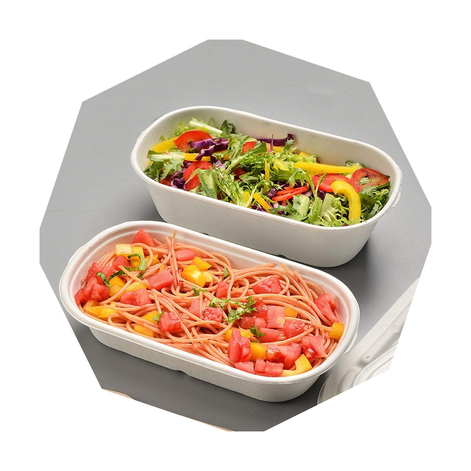 500x Disposable Box Compostable Bagasse Biodegrade Food Grade Eco-Friendly Take-Out Carry-Out Take-Away Lunch Box Bowl Lids,1000ml by JIA-WALK
