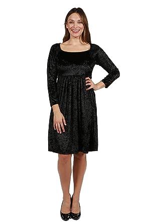 1fb2301e357 24 7 Comfort Apparel Plus Size Dresses Black Velvet Long Sleeve Empire  Waist for Womens