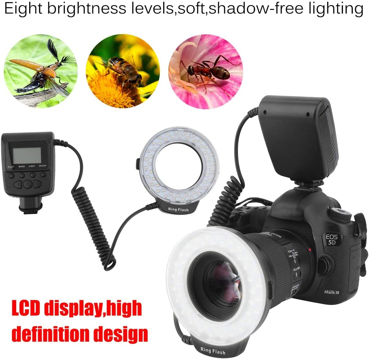 Macro 46 Pieces LED Ring Flash Light RF550D for Nikon for Canon for Olympus DSLR Camera Photography Accessory