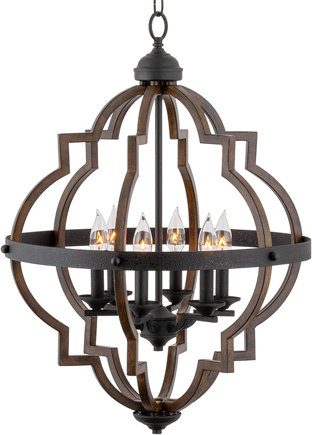 """Kira Home Capistrano 28"""" 6-Light Rustic Farmhouse Chandelier, Wood Style Metal Frame, Textured Black Accents + Walnut Style Finish"""