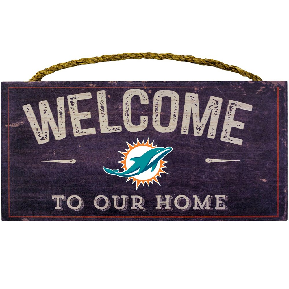 """Fan Creations Welcome Miami Dolphins Distressed 6 x 12, 6"""" x 12"""", Multicolored"""