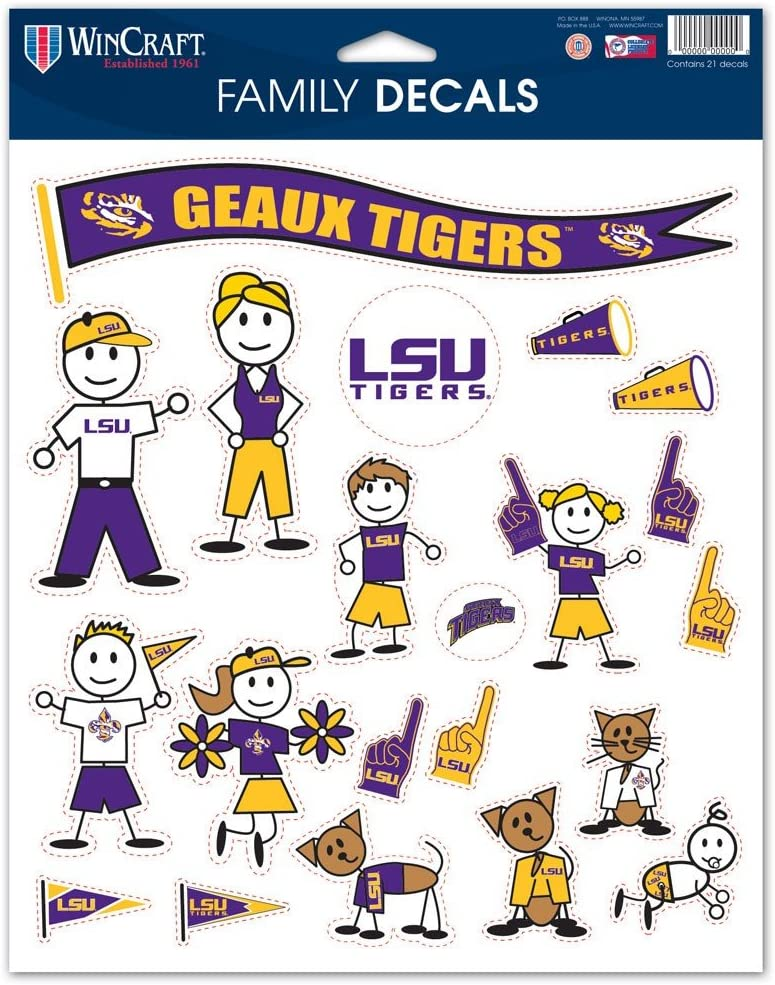 8.5 x 11 WinCraft NCAA Louisiana State University 37649023 Family Decal Sheet
