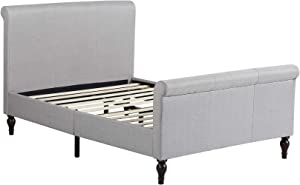"""Home Life Premiere Classics Cloth Light Grey Silver Linen 45"""" Tall Headboard Sleigh Platform Bed with Slats Queen - Complete Bed 5 Year Warranty Included 017"""