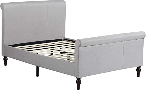 Home Life Premiere Classics Cloth Light Grey Silver Linen 45″ Tall Headboard Sleigh Platform Bed