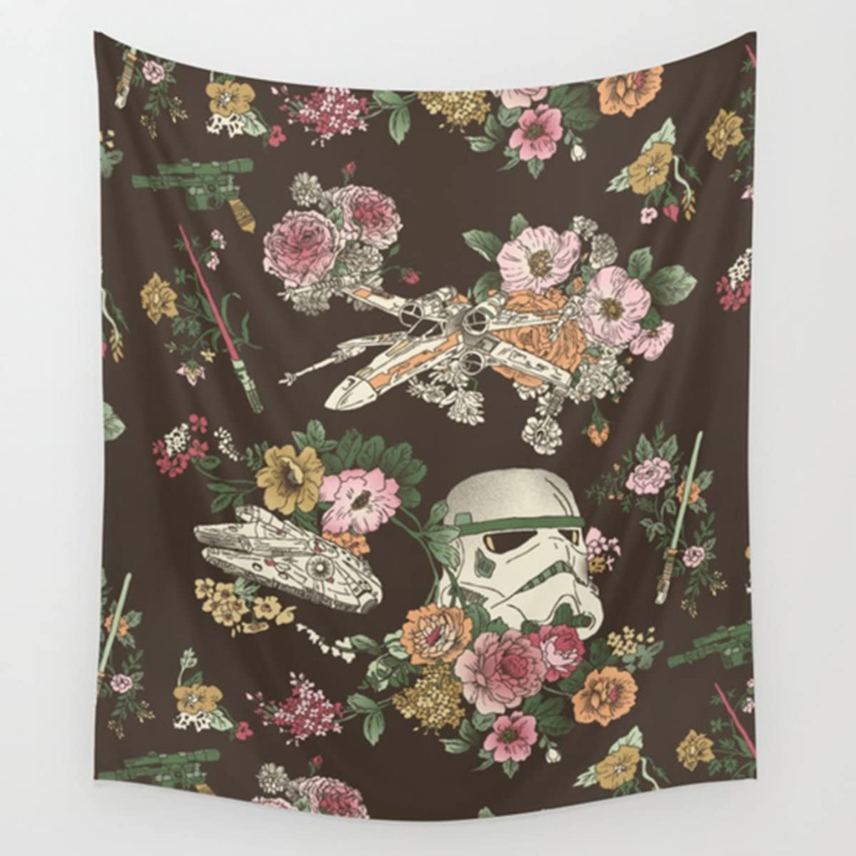 "Shukqueen Tapestry, Many Floral Print Black White Wall Hanging Tapestry Dorm Decor (51"" H x 60"" W, Floral)"