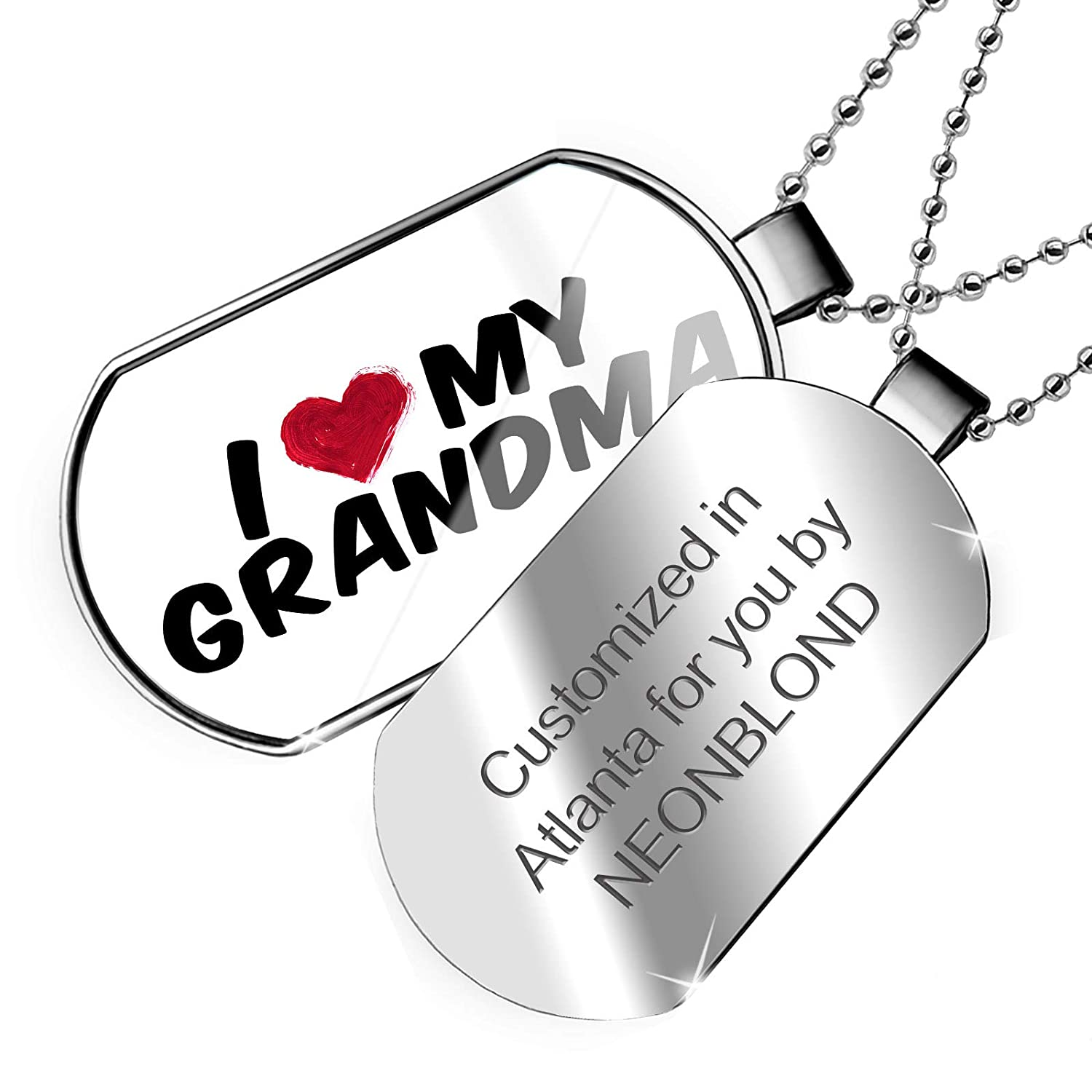NEONBLOND Personalized Name Engraved I Heart Love My Grandma Dogtag Necklace