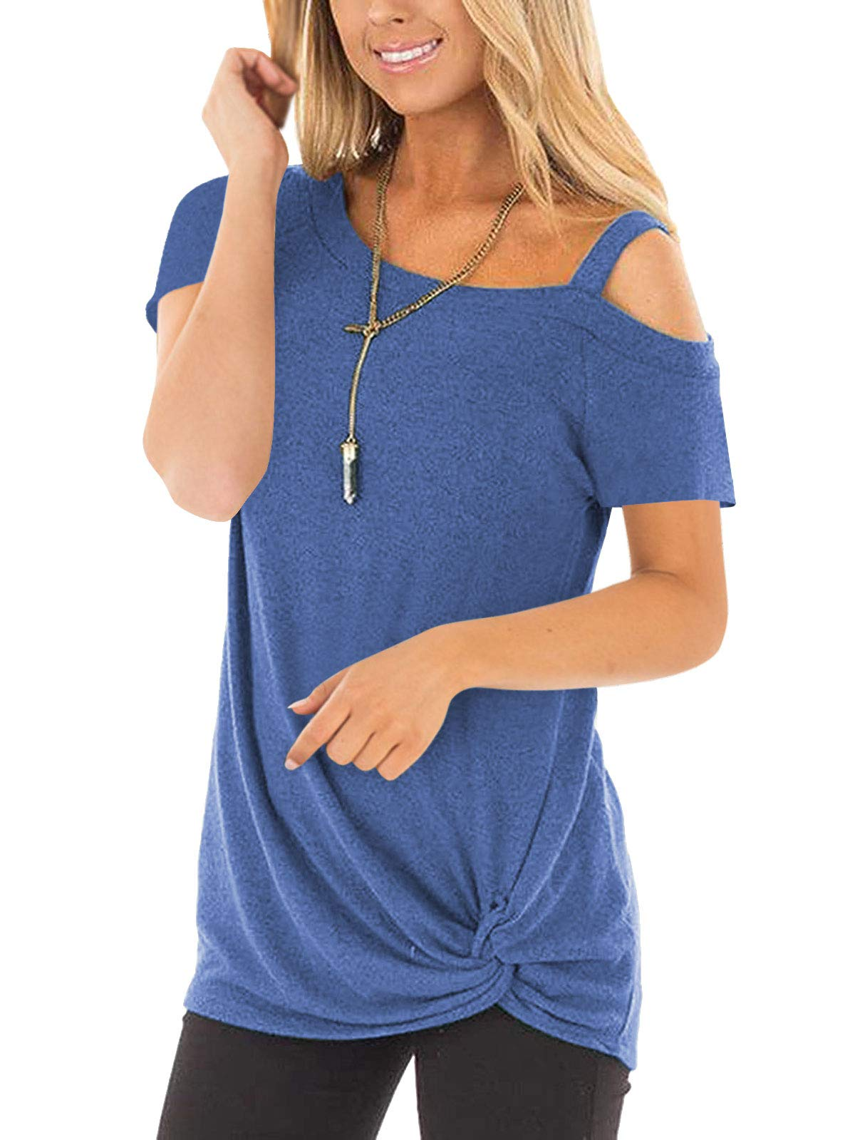 IMIDO Womens Cold Shoulder Tops Front Knot Side Twist Shirts One Shoulder Blouse Short Sleeve Tunic (L, B-Blue)