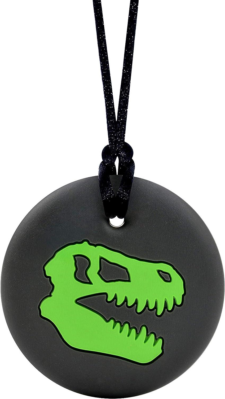 Munchables Dinosaur Skull - Sensory Chew Necklace for Boys (Green)