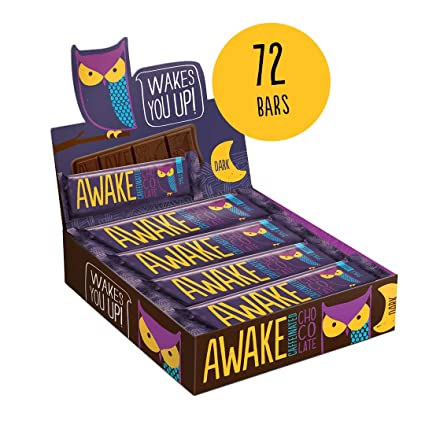 Awake Caffeinated Chocolate Energy Bar, Dark Chocolate, 72 Count