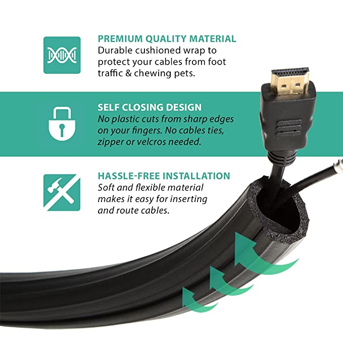 UT Wire UTW-FCW12-BK 12-Feet Flexi Cable Wrap, Black: Amazon.ca ...