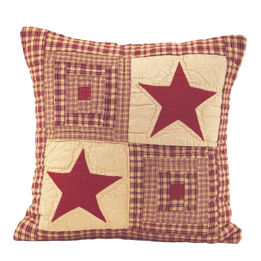 IHF New Quilted Pillow Beddings Vintage Star Wine Design 100% Cotton Fabric 16 x 16 Inches Pillows