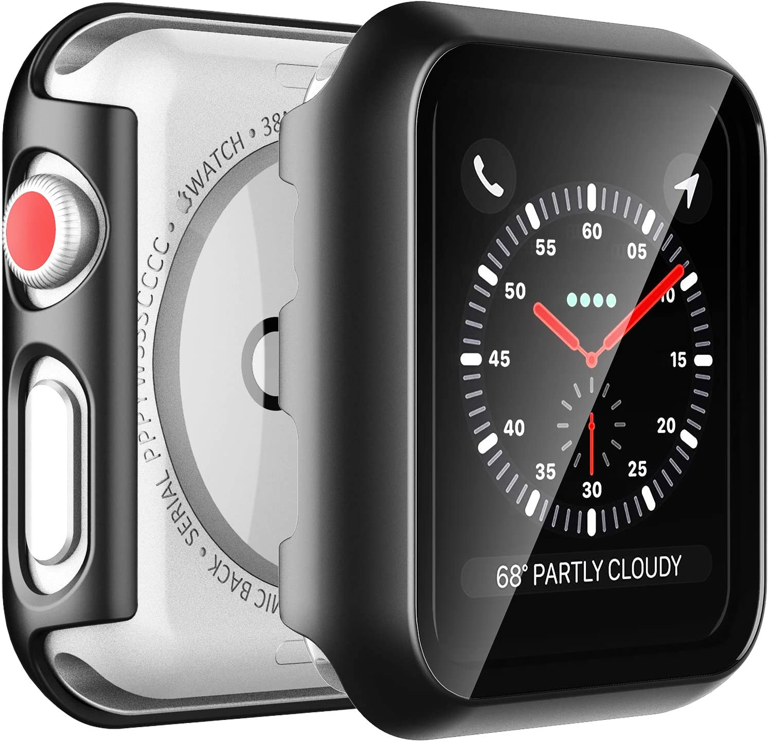 2 Pack LϟK Case for Apple Watch 42mm Series 3/2/1 Built-in Tempered Glass Screen Protector, All-Around Ultra-Thin Bumper Full Cover Hard PC Protective Case for iWatch 42MM - Black