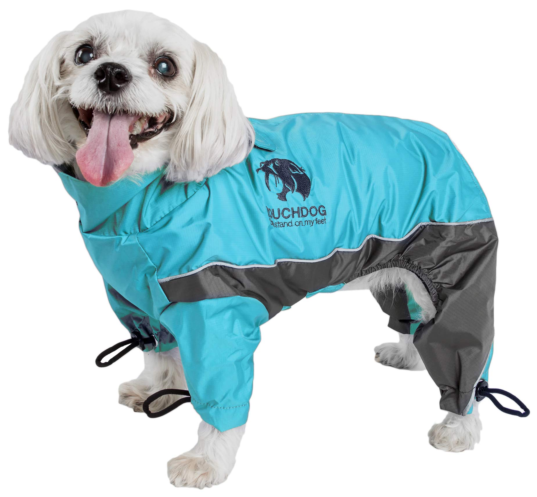 TOUCHDOG 'Quantum-Ice' Full Body Bodied Adjustable and 3M Reflective Pet Dog Coat Jacket w/ Blackshark Technology, Small, Ocean Blue, Grey