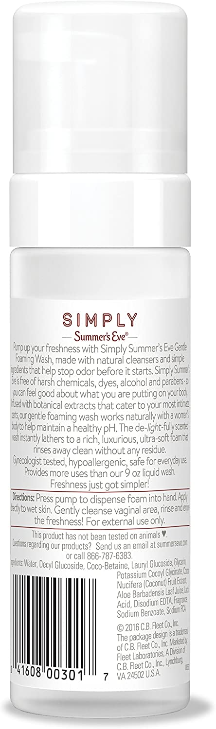 Summer's Eve Simply Gentle Foaming Wash - Helps Maintain a naturally healthy pH - Free From Harsh Chemicals, Dyes, Alcohol, and Parabens - Gynecologist Tested - Coconut Water - 5 Ounce (850105): Health & Personal Care