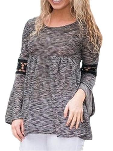 Gogofuture Camisetas Mujeres Sexy Blusas De Encaje Flores Lace Crochet Camisas Manga Larga T Shirt T...
