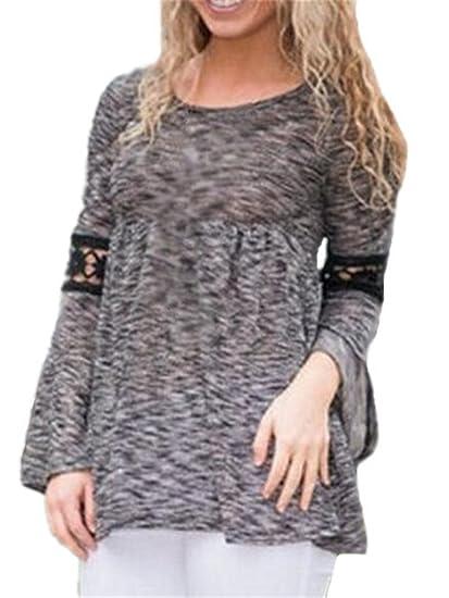AILIENT Mujeres Elegante Encaje Blusa Lace Crochet Camiseta Casual Cuello Redondo Suelto Mangas Largas Blusas Tops T-shirt: Amazon.es: Ropa y accesorios