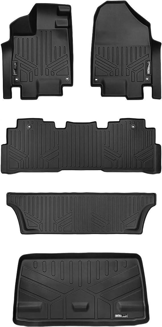 MAXLINER Floor Mats 3 Rows and Cargo Liner Behind 3rd Row Set Black for 2018-2019 Honda Odyssey
