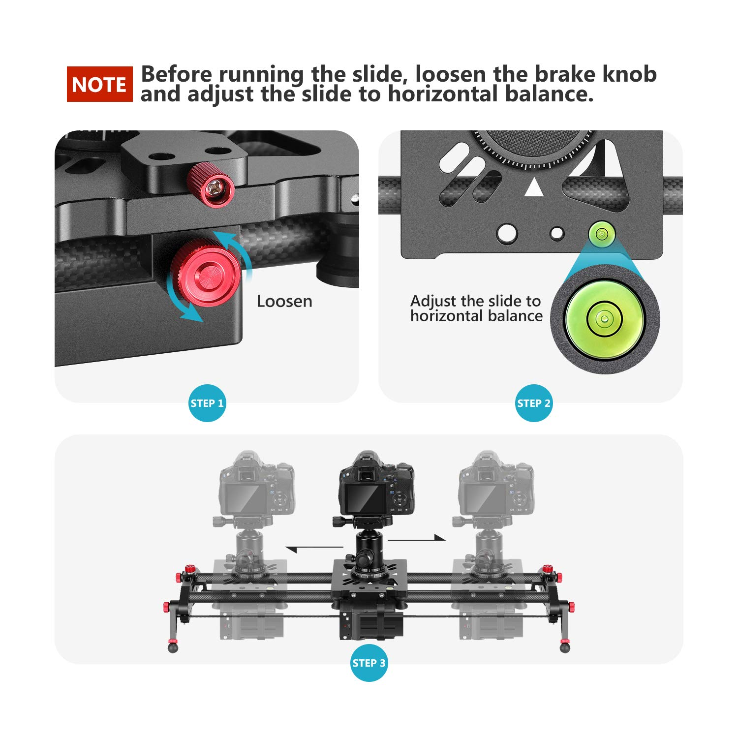 Neewer Motorized Camera Slider 393inch APP Control Carbon Fiber Track Dolly Rail with Mute MotorTime