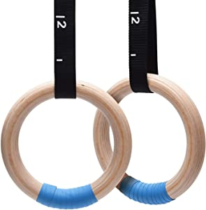 PACEARTH Wood Gymnastics Rings 1500lbs/992lbs with Adjustable Cam Buckle 14.76ft Long Straps Exercise Rings Non-Slip Training Rings for Home Gym Full Body Workout