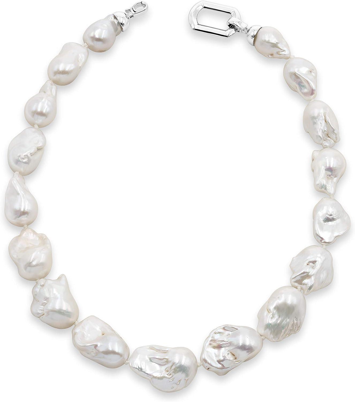 Secret & You Collar de Perlas de Mujer Cultivadas de Agua Dulce Barrocas XL de 45 cm de Largo Disponible en Calidad AA y AAA Perlas Barrocas XL de 13-15 y 14-16 mm con Nudo Entre Cada Perla.
