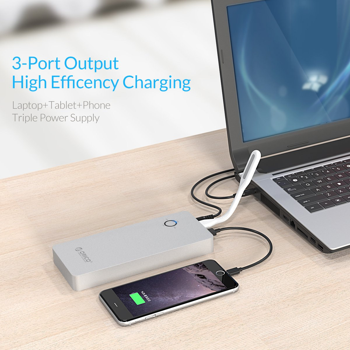 ORICO 18000mAh Aluminum Power Bank with DC input/output and 2 Quick Charge USB Ports - Perfect for PC, Laptop, Phone, Kindle, Tablets & More by ORICO (Image #7)
