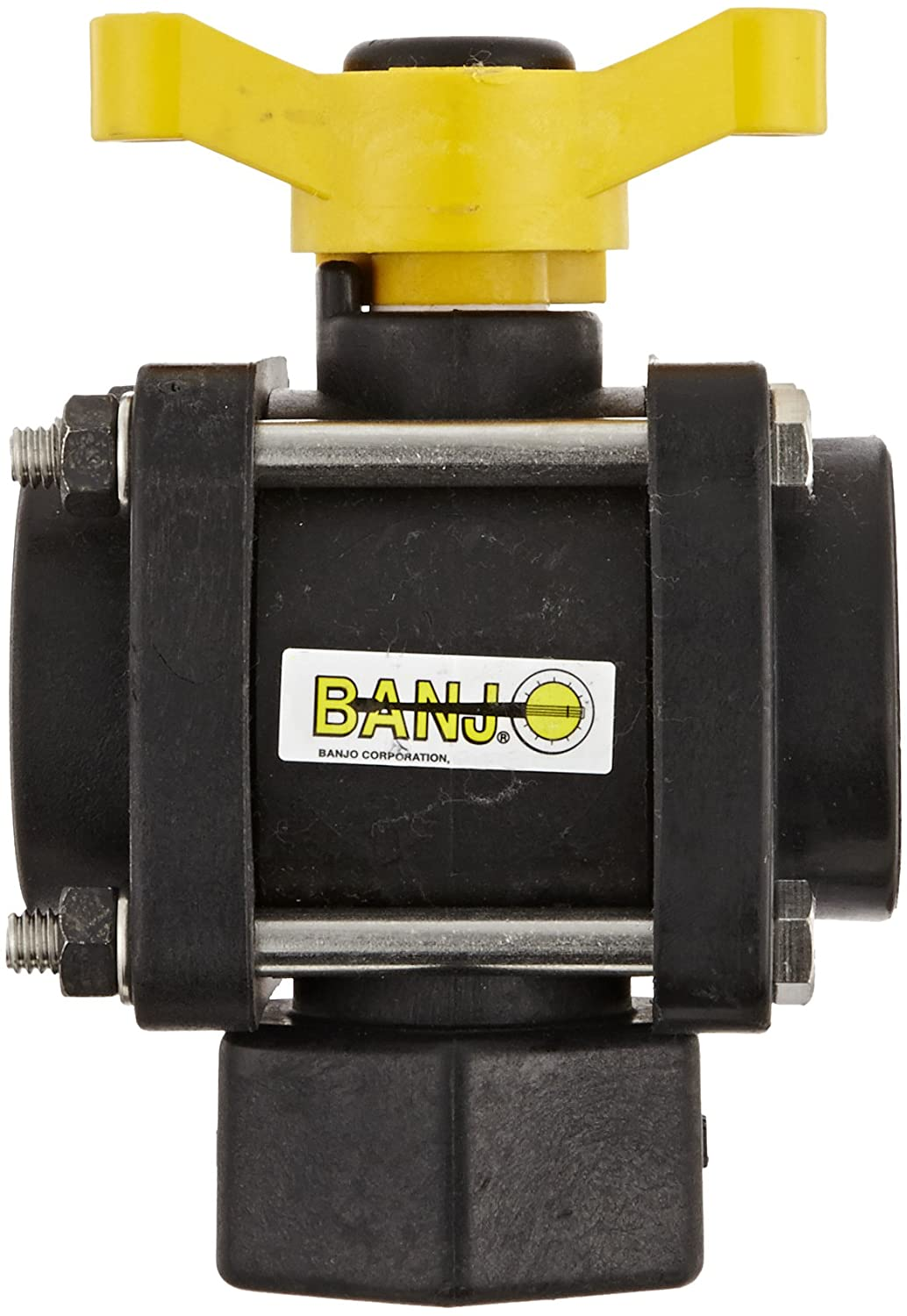 Banjo V075BL Polypropylene Bottom Load Ball Valve Three Way Full Port Three Piece 3//4 NPT Female 3//4 NPT Female Banjo Corporation