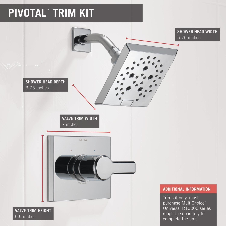 Chrome Delta Faucet T14299 Pivotal Monitor 14 Series Shower Trim