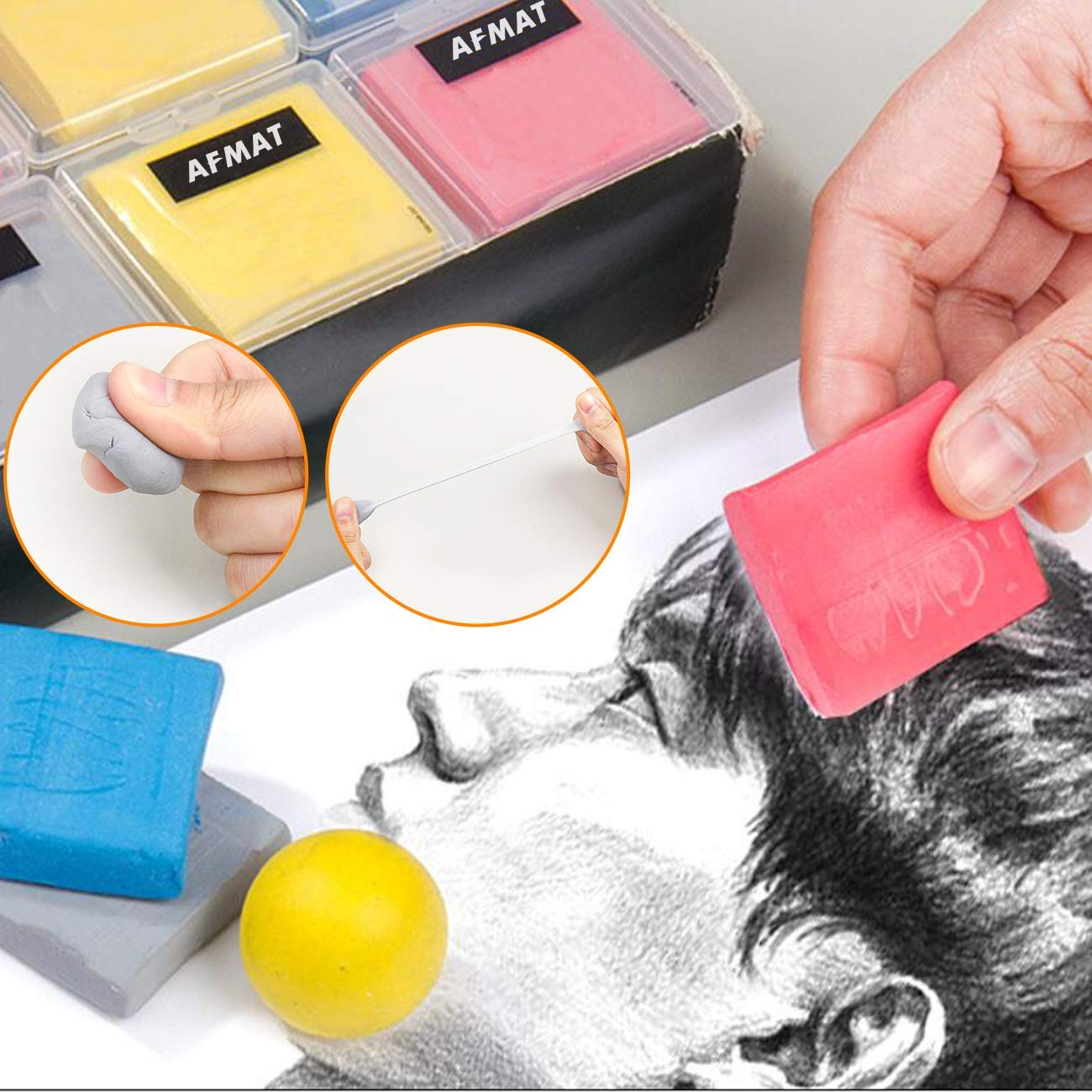 Drawing Art Kneaded Erasers Assorted Colors No Smudge Eraser Knead Erasers Pastels-Moldable Putty Rubber Large Kneaded Rubber Erasers for Drawing Sketching Supplies for Artists-6 Pack Charcoal