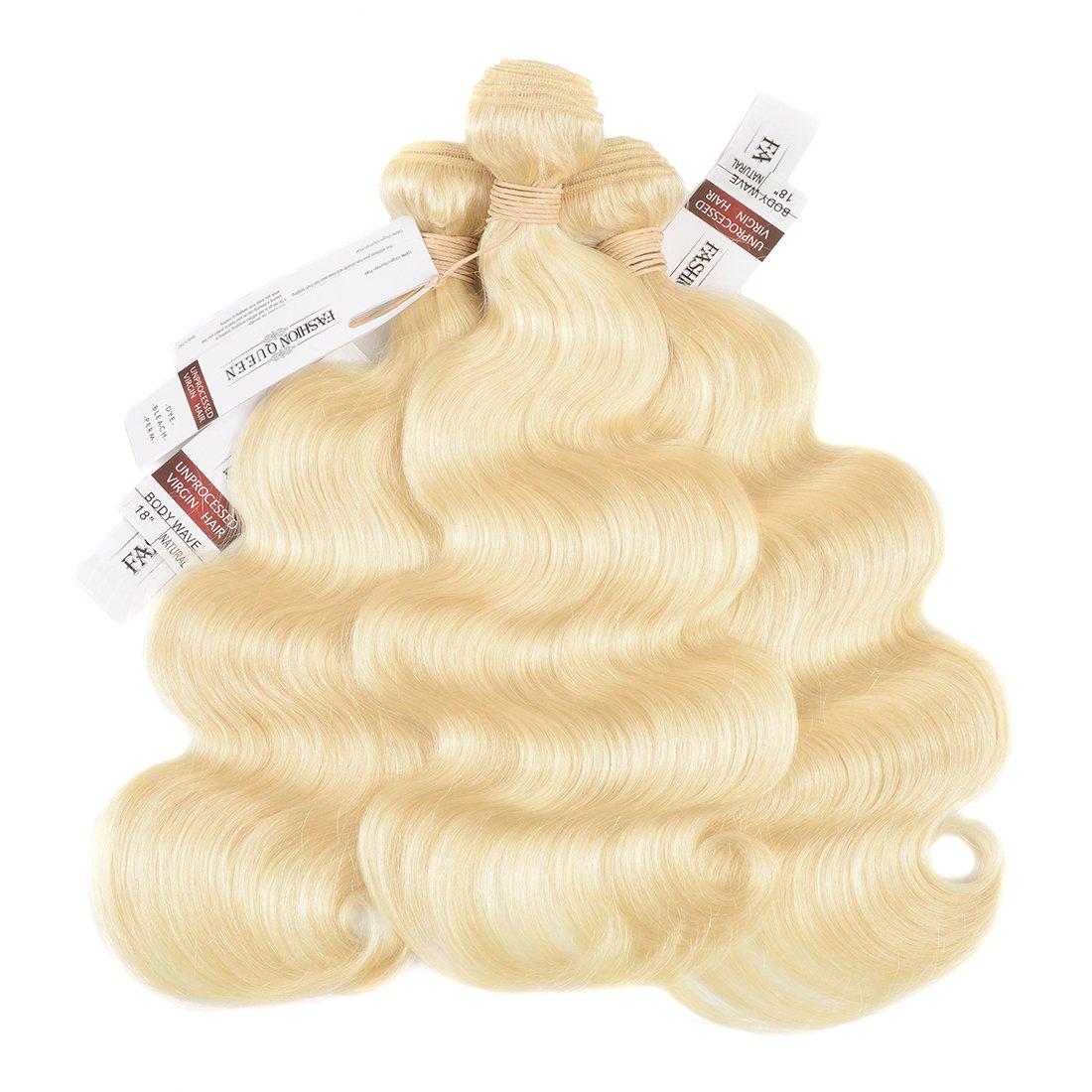 FASHION QUEEN Hair 613 Blonde Hair Bundles, Silk Body Wave Brazilian Virgin Hair, Honey Blonde Unprocessed Human Hair Weave 3 Bundles 300g Mixed Length 16 18 18 Inch