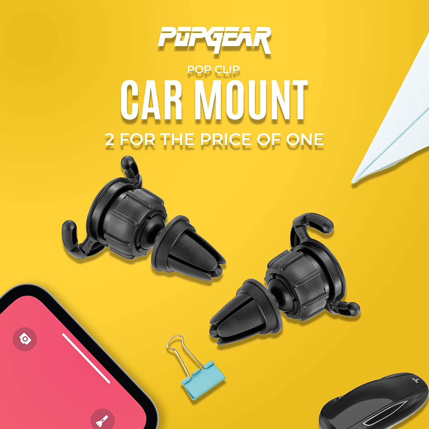 Sturdy Mount with 360 Degrees Grip /& Lock for GPS Navigation Air Vent Clip Designed for Android or iPhone with Pop Out Clip 2 Pack PopGear Pop Clip Car Mount /& Holder for Cell Phone
