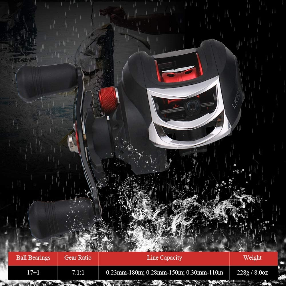 yorten Baitcasting Fishing Reels Lightweight High Speed 7.1:1 Gear Ratio Baitcast Fishing Reel 17+1 Ball Bearings Baitcasting Fishing Reel Baitcaster Tackle