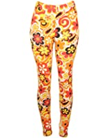 Sexy Comfortable Colorful Leggings w/ Curly Floral Design