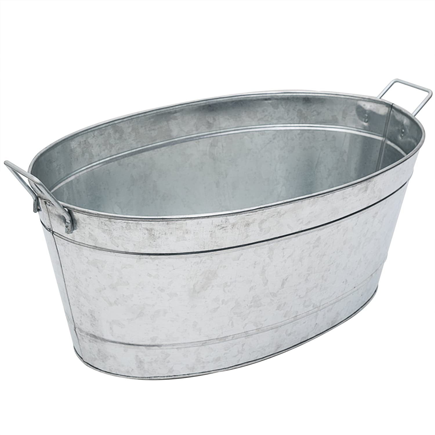 Achla Designs C-55 Large Galvanized Steel Metal Oval tub