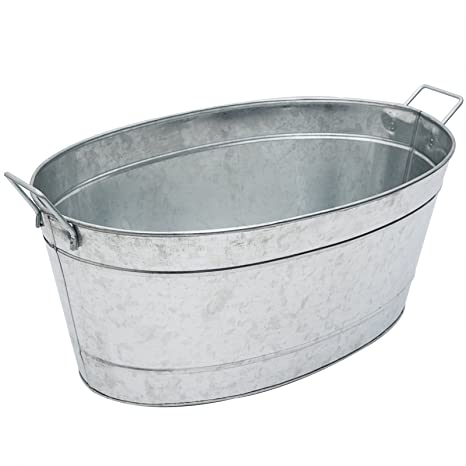 Ordinaire Achla Designs Large Oval Galvanized Steel Tub