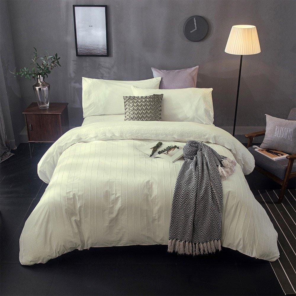 (King, Cream) Merryfeel 100% cotton Embroidery Duvet Cover SetCream King B01N631Y6A キング|クリーム クリーム キング