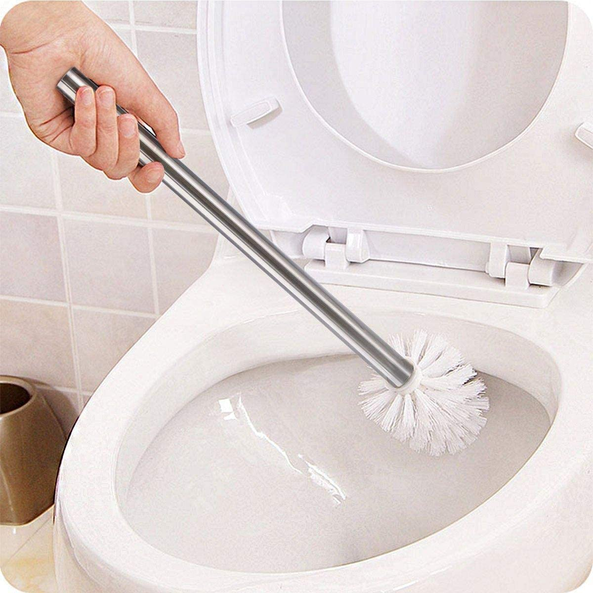 35 x 8 cm Colore: Bianco Spazzola WC Portatile per Bagno WC con Manico in Acciaio Inox Cxssxling