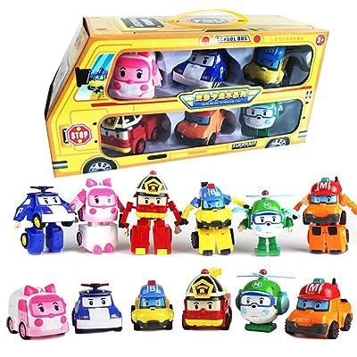 Accrie 6 in 1 Korean Animation Cartoon Robocar Poli Transformation Robot Car Toys Set 83168-9: Toys & Games