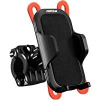 Mpow Bike&Motorcycle Phone Mount, Universal Bike Phone Holder, Rubber Strap, Slide-Proof Clamp, One-button Released Motorcycle Mount Compatible iPhone Samsung Google Pixel Others