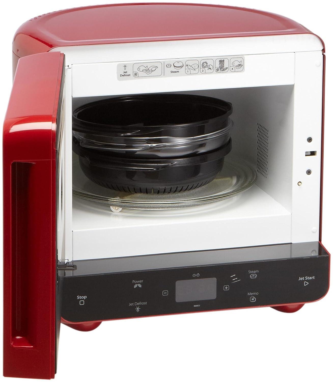 Whirlpool MAX 35/RD - Microondas con función de vapor y de descongelación (13 litros, 700 vatios), color rojo: Amazon.es: Hogar