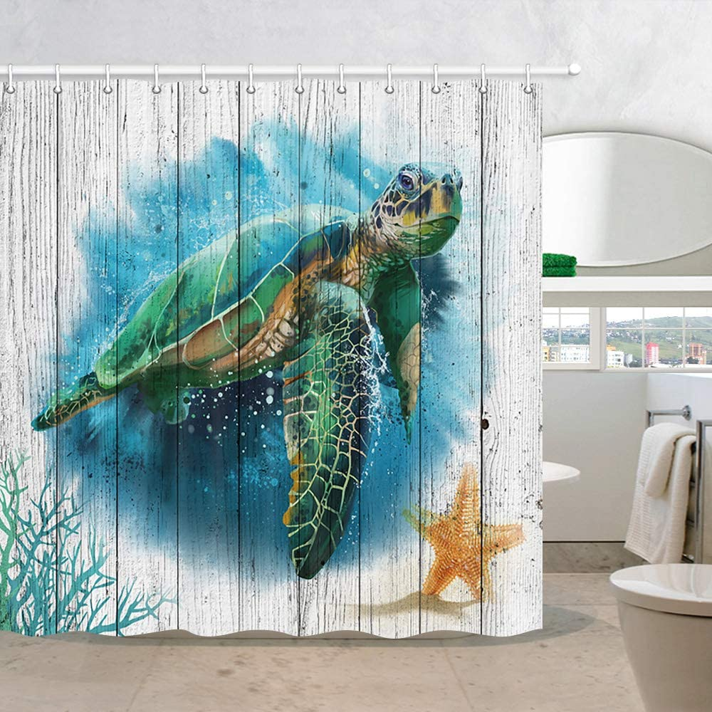 Sea Turtle Swimming Underwater Shower Curtain Bathroom Decor Fabric /& 12hooks