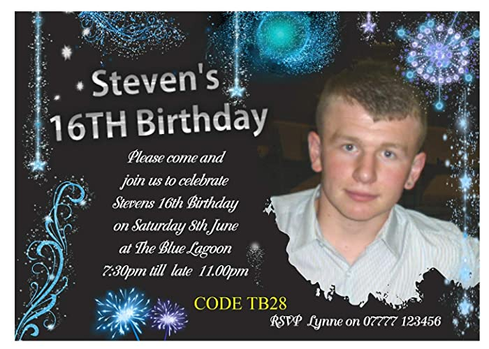 Personalised Teenage Boys Birthday Party Invitations Cards Any Age Amazoncouk Handmade