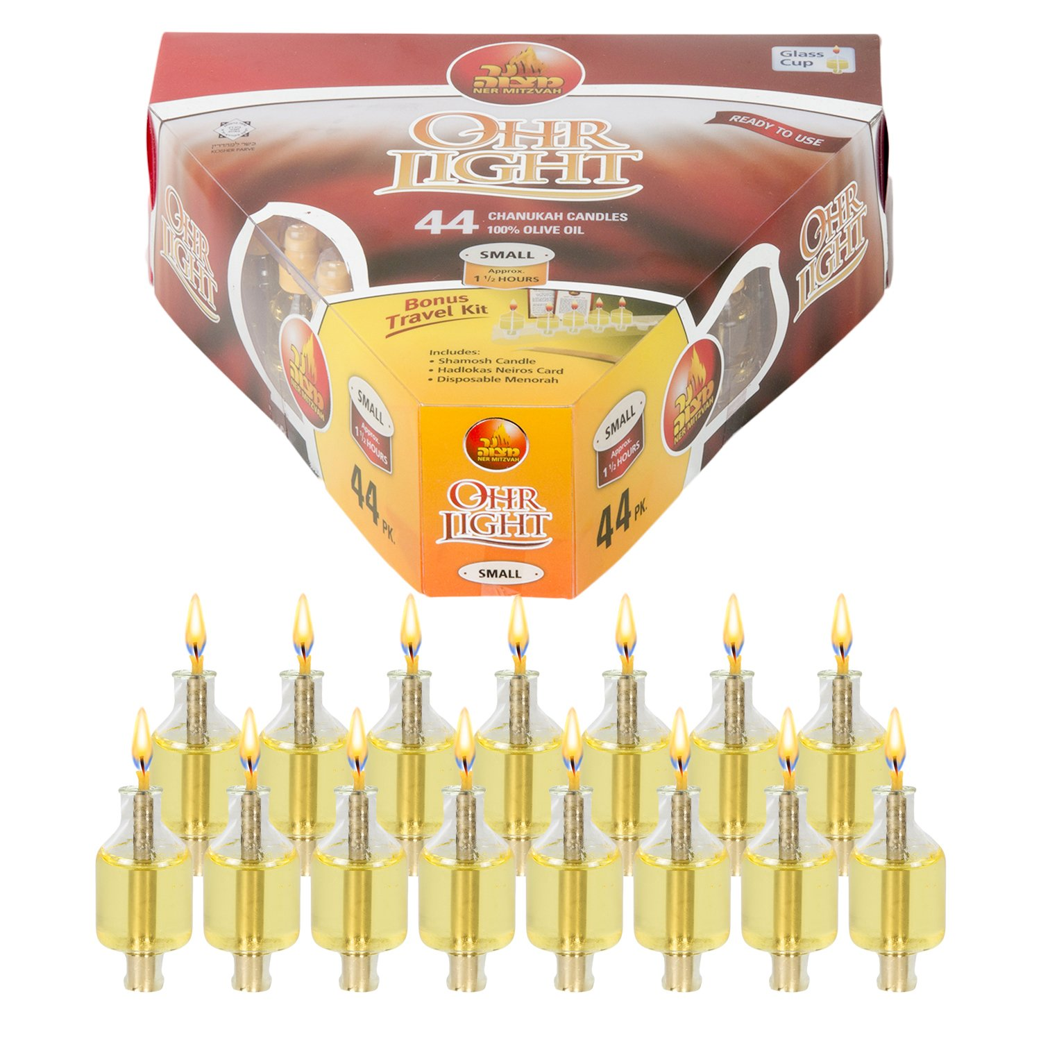 Ner Mitzvah Pre Filled Menorah Oil Cup Candles Lighting Diagram Hanukkah Ohr Lights 100 Olive With Cotton Wick In Glass Small Size 44 Per Pack
