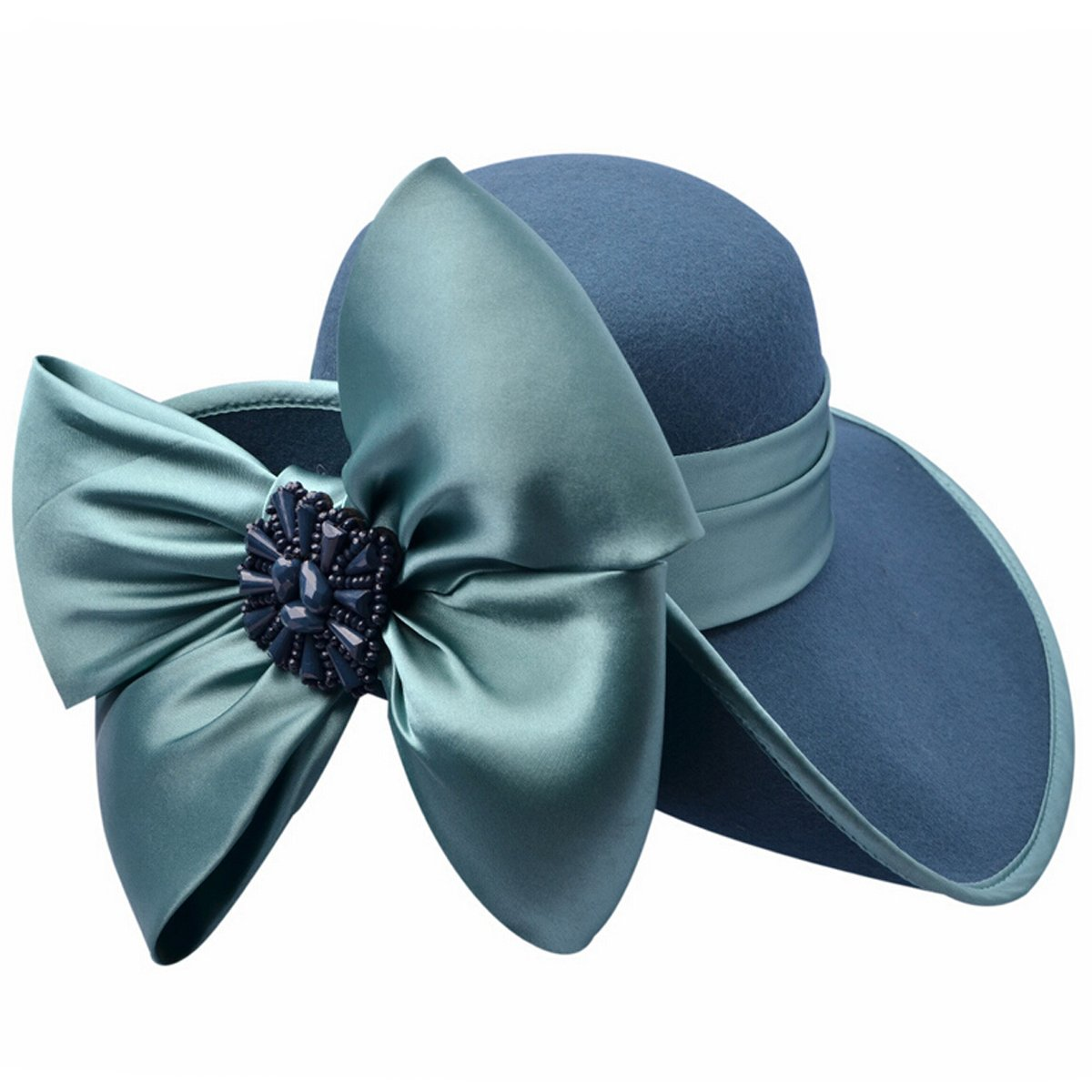 VECRY Ladies 100% Wool Felt Feather Cocktail British Formal Party Hat (Bow-Turquoise)