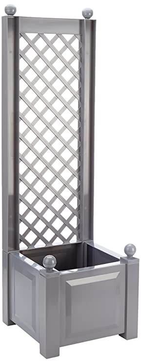 Khw 37202 Garden Planter Box With Trellis Grey Small Amazon Co Uk
