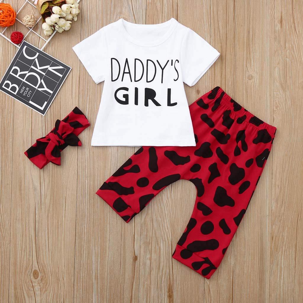 Hosen Haarband Outfit Set Toasye Fashion Baby Kleinkind M/ädchen Vatertag Rundhals Brief gedruckt T-Shirt