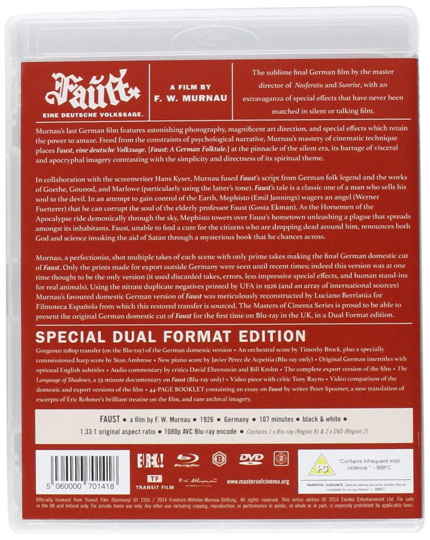 faust masters of cinema dvd blu ray dual format amazon co uk faust masters of cinema dvd blu ray dual format amazon co uk emil jannings gosta ekman camilla horn yvette guilbert william dieterle eric barclay