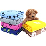 AK KYC 6 Pack Mixed Puppy Blanket Cushion Dog Cat Fleece Blankets Pet Sleep Mat Pad Bed Cover Paw Print Kitten Soft Warm Blanket Animals
