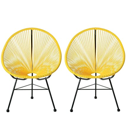 Astounding Amazon Com Acapulco Lounge Chair Yellow Set Of 2 Caraccident5 Cool Chair Designs And Ideas Caraccident5Info